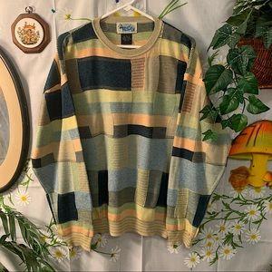 Vintage pastel colorful plaid grandpa sweater